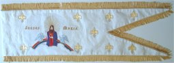 Hand embroidered medieval religious banner - front